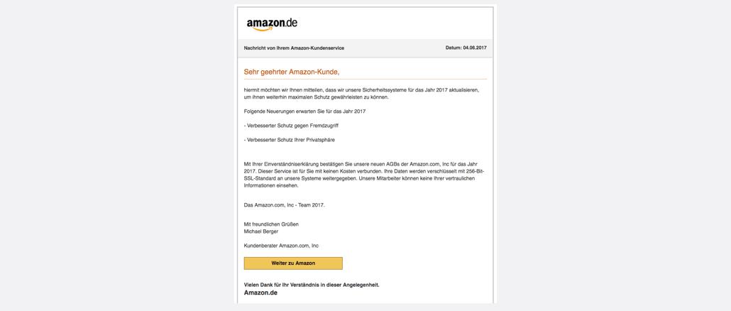 Amazon Phishing Spam Amazon Kontowiederherstellung