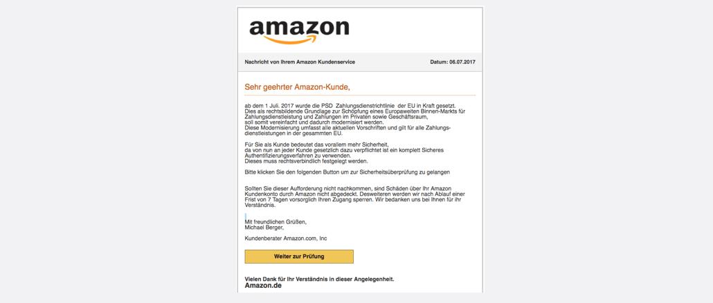 Amazon Spam Aktuell Vorsorgliche Konto-Sperrung