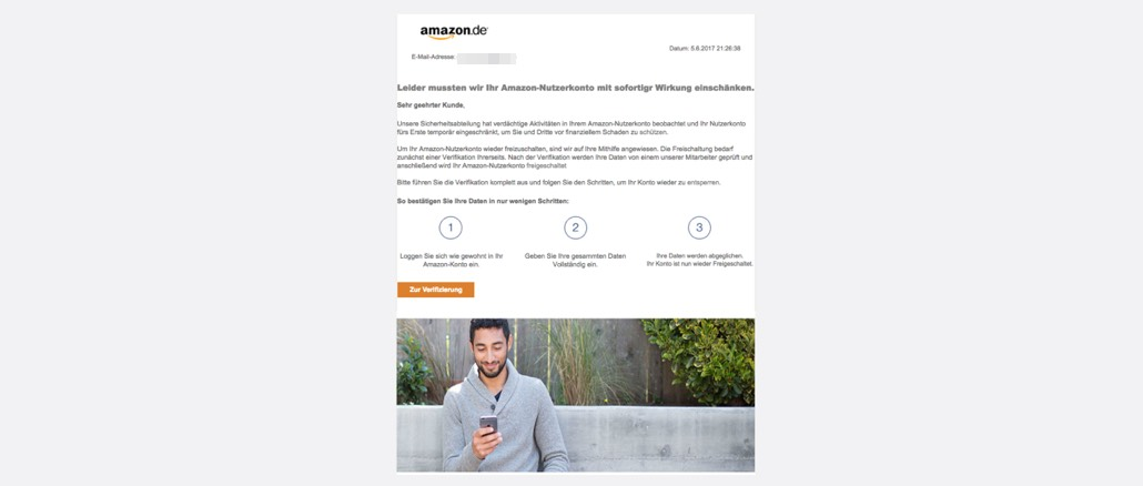 Amazon Spam Fremdzugriff festgestellt
