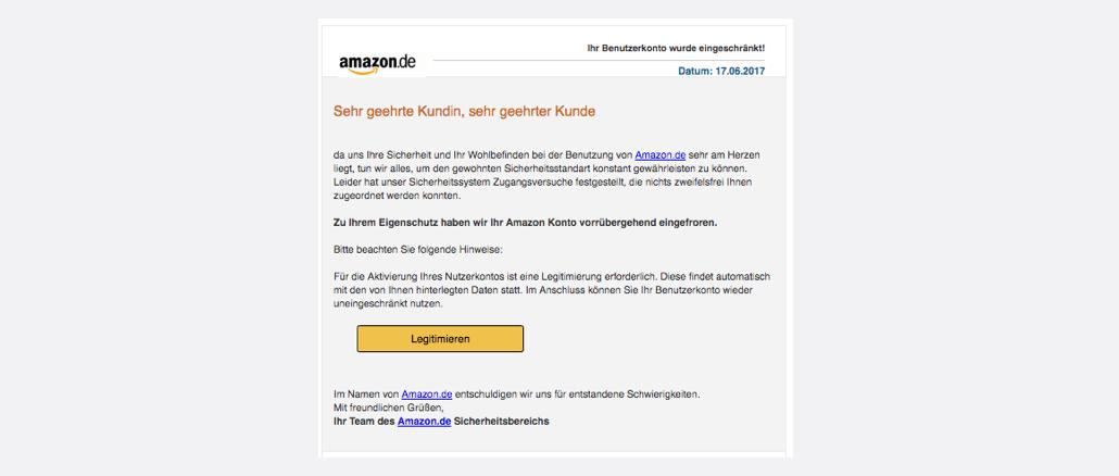 Amazon Spam Ihr Benutzerkonto wurde eingeschränkt