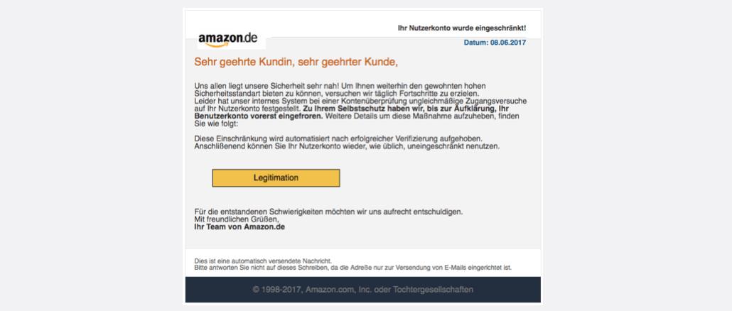 Amazon Spam Ihr Nutzerkonto wurde eingeschränkt!