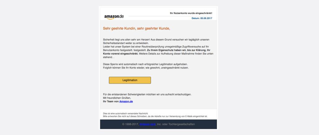 Amazon Spam Ihr Nutzerkonto wurde eingeschränkt