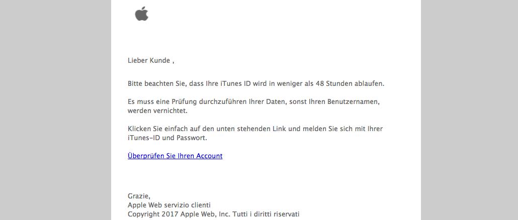 Apple ID Spam-Mail Konto prüfen
