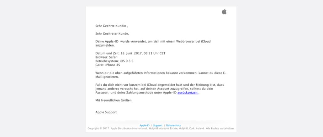 Apple ID Spam Vermuteter Unbefugter Loginversuch