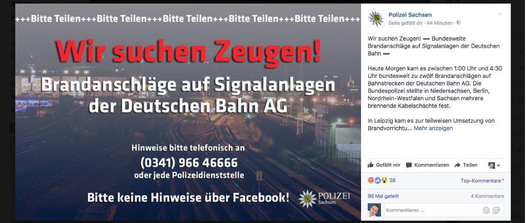 Brandanschlag Deutsche Bahn Polizei sucht Zeugen