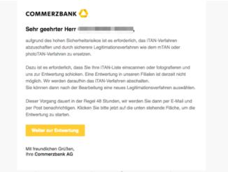 Commerzbank Spam Entwertung Ihrer iTAN-Liste