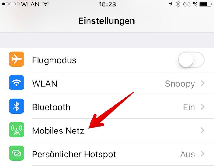 iphone se roaming ausschalten