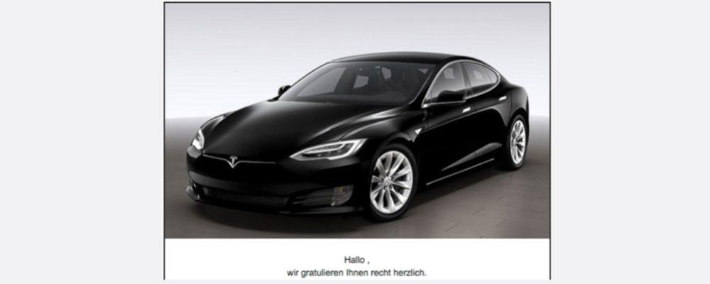Vorsicht Datensammler: Gewinnspiel für Tesla Modell S stammt nicht von Tesla