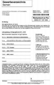 Fax Spam Gewerbeverzeichnis