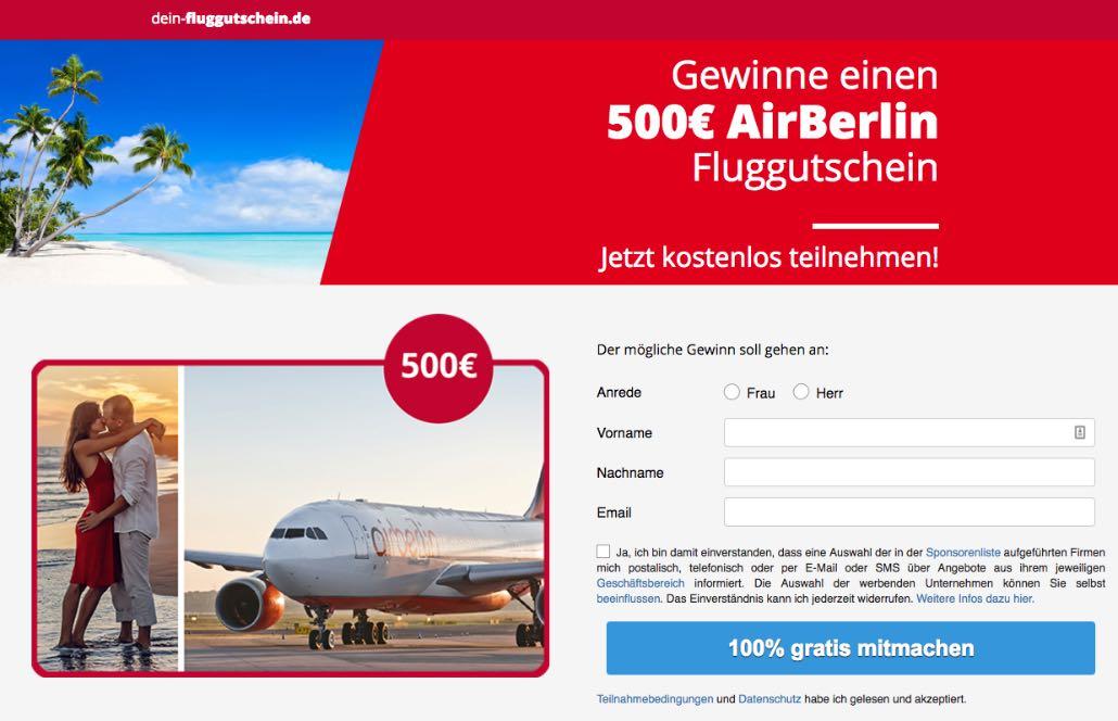 Airberlin-ticket gewinnspiel auf facebook