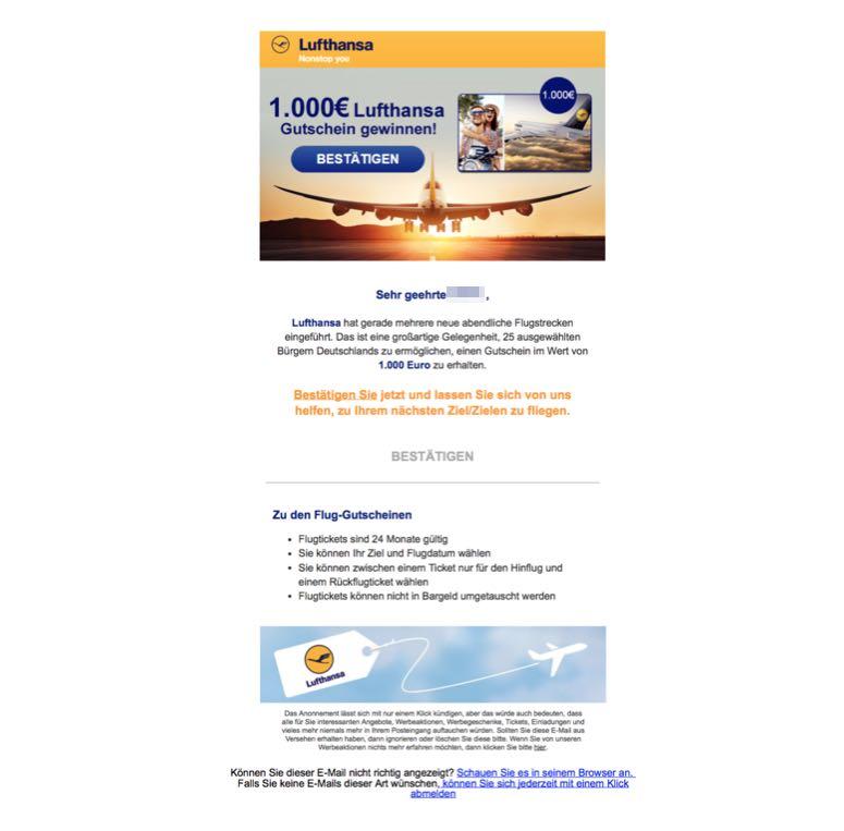E-Mail mit 1.000 Euro Lufthansa-Gutschein ist ein Gewinnspiel