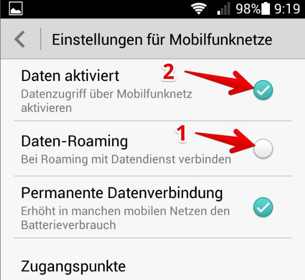 roaming ausschalten