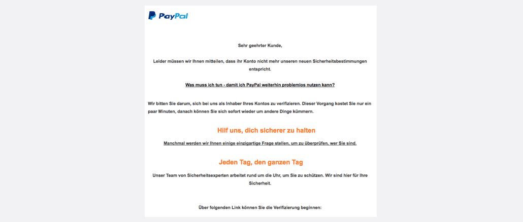 PayPal Spam Aktualisieren Sie Ihr Kundenkonto
