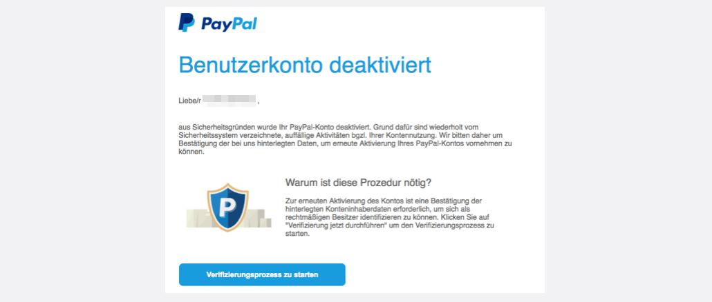 PayPal Spam Benutzerkonto deaktiviert