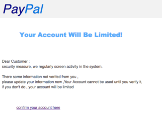 PayPal Spam Nachricht Your account has been Iimited