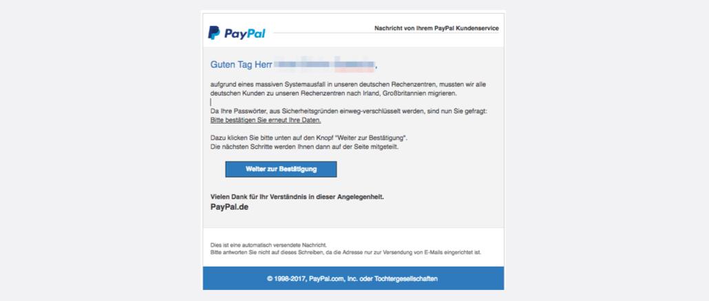 PayPal Spam Nachricht von Ihrem Kundenservice