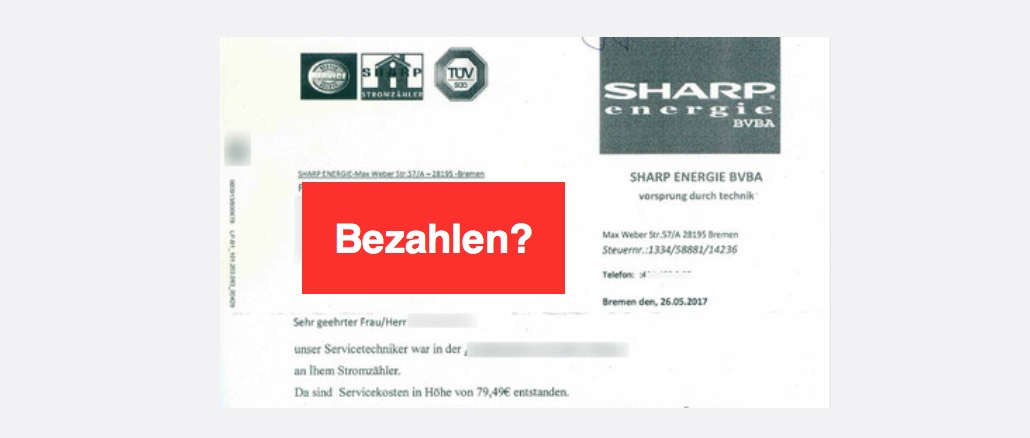 Rechnung Sharp Energie BVBA Betrug