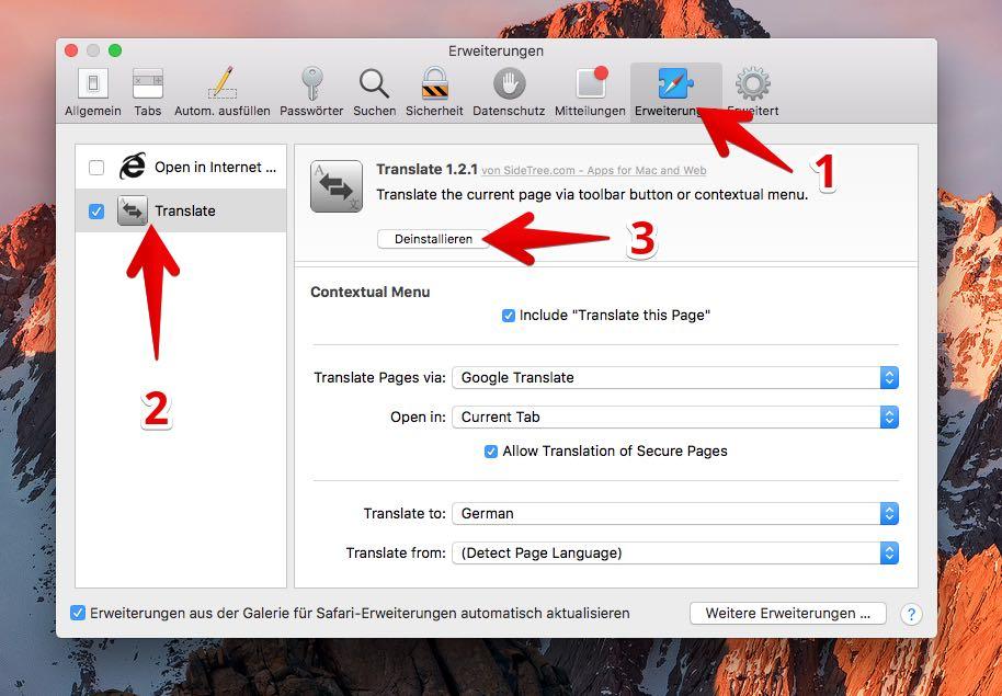 Safari Erweiterungen deinstallieren löschen