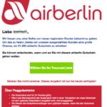 Spam-Mail im Namen von airberin 100 Euro Gutschein