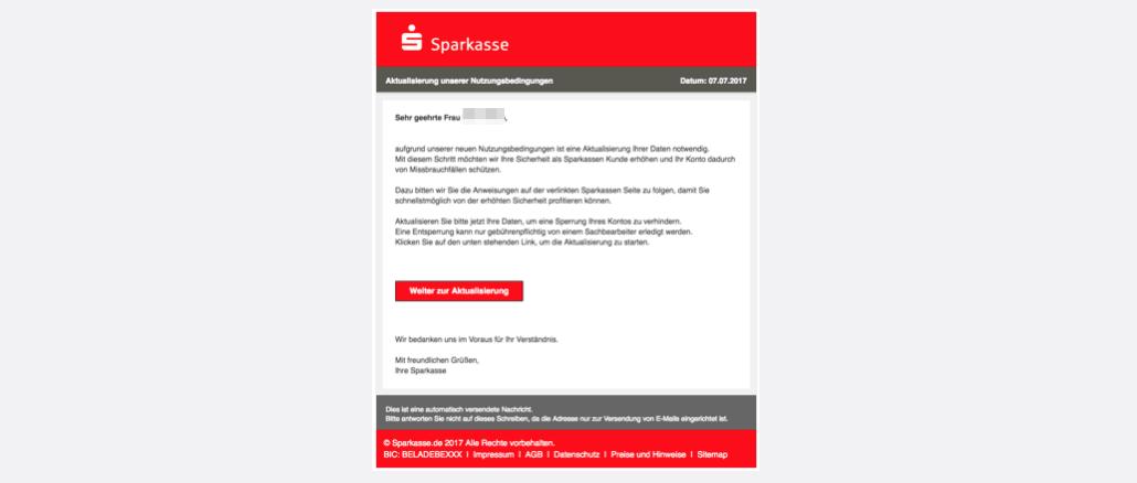 Sparkasse Spam Phishing Aktualisierung unserer Nutzungsbedingungen