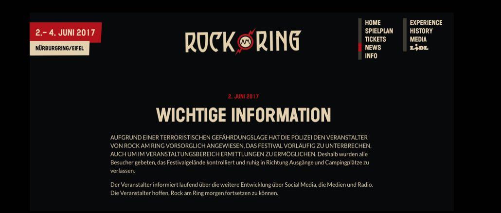 Rock Am Ring Musikfestival Muss Wegen Terrorwarnung Geräumt Werden