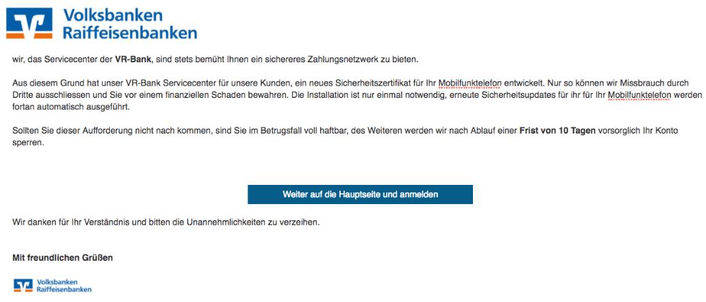 Volksbank Spam-Mail Wichtiges Sicherheitsupdate