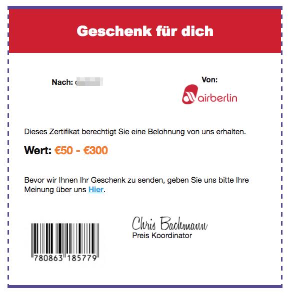 airberlin Spam Fake Mail Ihr Geschenk Ankunft