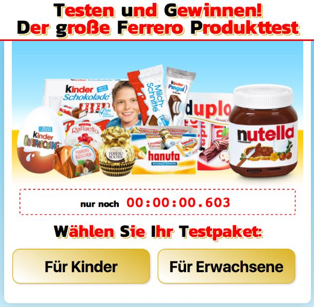 tagesgewinner.de Ferrero Testaktion Fake