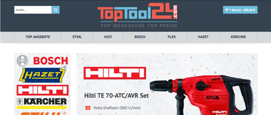 toptool24.com Onlineshop mit Problemen