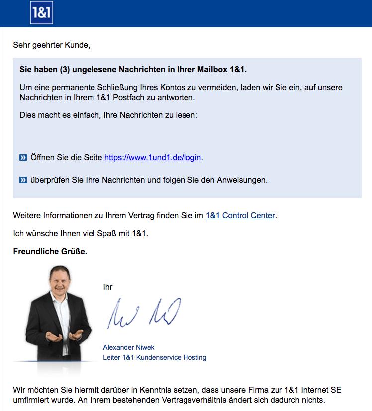 1und1 Spam Mail ungelesene Nachrichten
