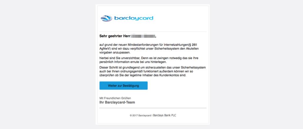 2017-07-18 Barclaycard Spam aktuell Nachricht vom Kundenservice