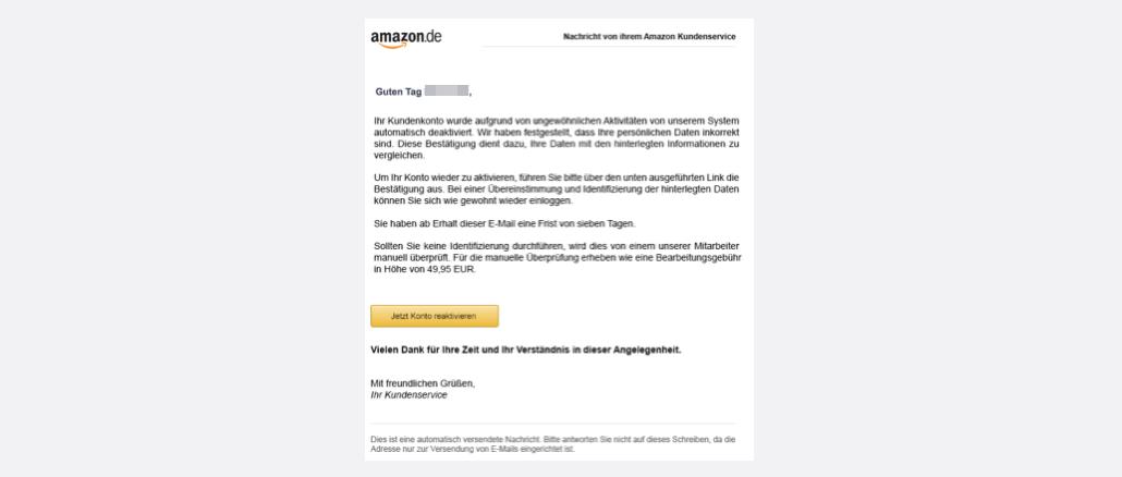 2017-07-21 Amazon Spam Nachricht von Ihrem Amazon Kundenservice