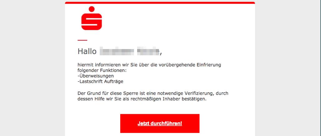 2017-07-23 Sparkasse Spam aktuell Wichtig Online-Banking deaktivierung