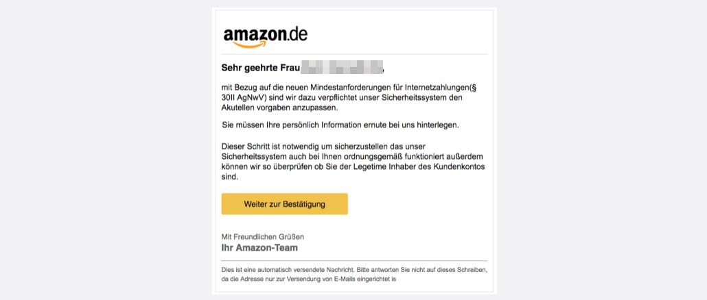 2017-07-24 Amazon Spam Nachricht vom Kundenservice