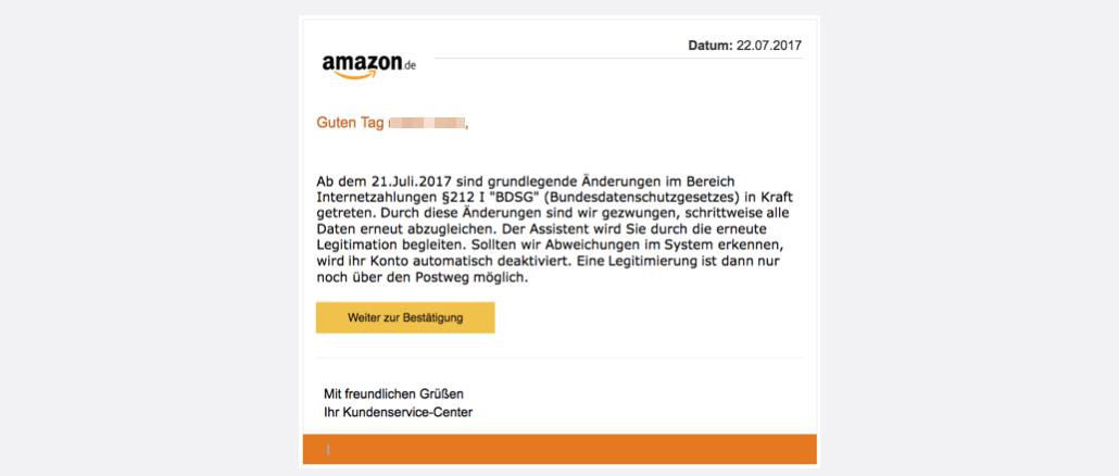 2017-07-24 Amazon Spam Nachricht vom Kundenservice1