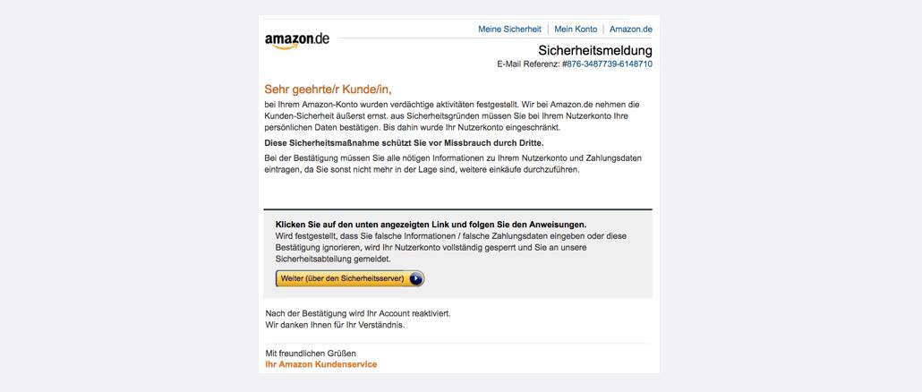 2017-07-24 Amazon Spam aktuell Benachrichtigung vom Sicherheitsdienst