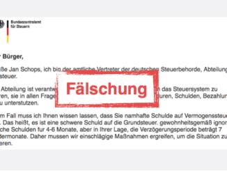 2017-07-25 Spam-Mail Bundeszentralamt fuer Steuern Virus