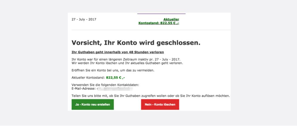 2017-07-27 HB Swiss Spam Mail Vorsicht Ihr Konto wird geschlossen