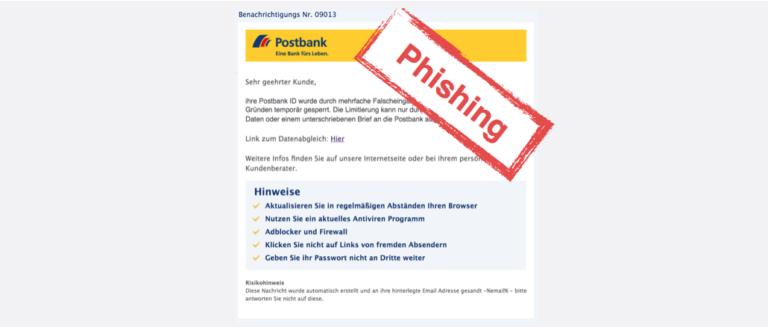 2017-07-27 Postbank Spam Phishing Mehrfache Falscheingabe des Passworts