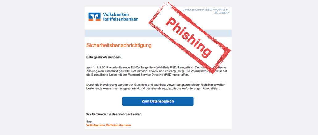 2017-07-28 Volksbank Spam Phishing Sicherheitsbenachrichtigung