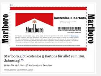 2017-07-30 Facebook Spam Marlboro Gratis Zigaretten