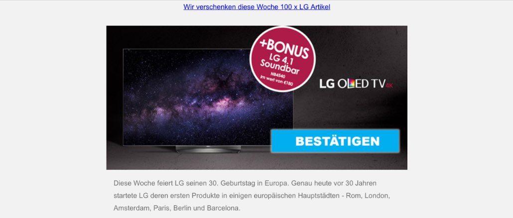 2017-07-31 LG Spam Werbung LG OLED TV Kostenfalle
