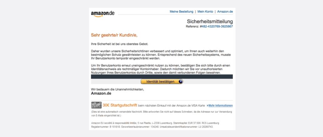 2017-08-02 Amazon Spam aktuell Vorsorgliche Konto Sperrung