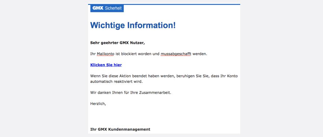 2017-08-03 GMX Spam Phishing GMX E-Mail-Konto gesperrt
