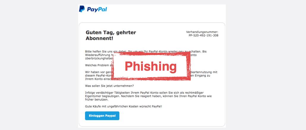 2017-08-07 PayPal Spam Kontosperrung