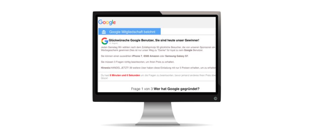 2017-08-13 Spam-Fenster Pop-up Google Gewinnspiel Fake