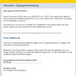 2017-09-08 Postbank Spam Mehrfache Falscheingabe des Pin - Online Mitteilung