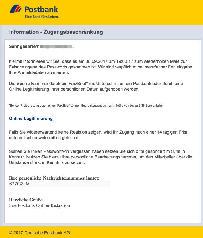 Karte Sperren Postbank.Postbank Phishing Mail Mehrfache Falscheingabe Des Passworts
