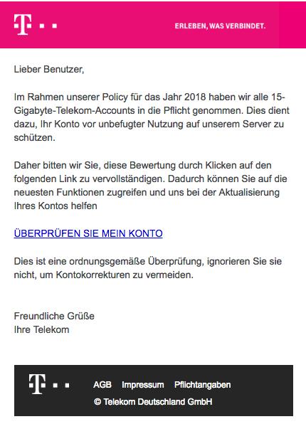 2018-01-19 Spam Mail Deutsche Telekom 15GB Kontoverifizierung