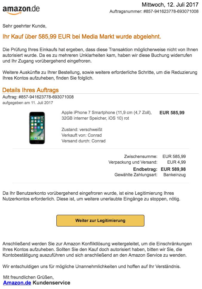 amazon vorsicht spam mail ihr konto wurde gesperrt. Black Bedroom Furniture Sets. Home Design Ideas